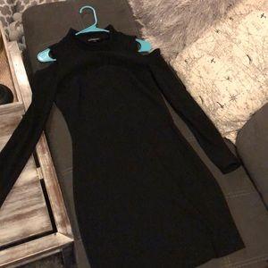 Express shoulder cut long sleeve dress